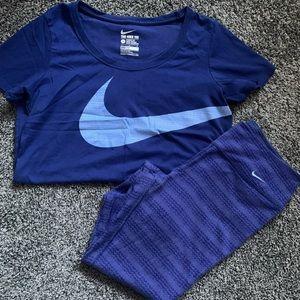 NIKE Dri-Fit T-Shirt and Cropped Leggings Set